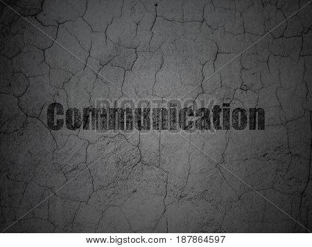 Marketing concept: Black Communication on grunge textured concrete wall background