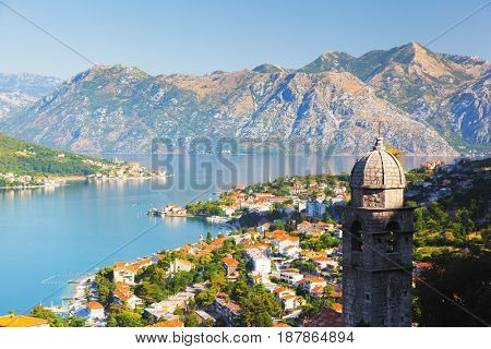 Great view of Kotor bay (Boka Kotorska) in sunny day. Picturesque and gorgeous scene. Location place famous resort Montenegro, Balkan peninsula, Adriatic sea, Europe. Explore the world's beauty.