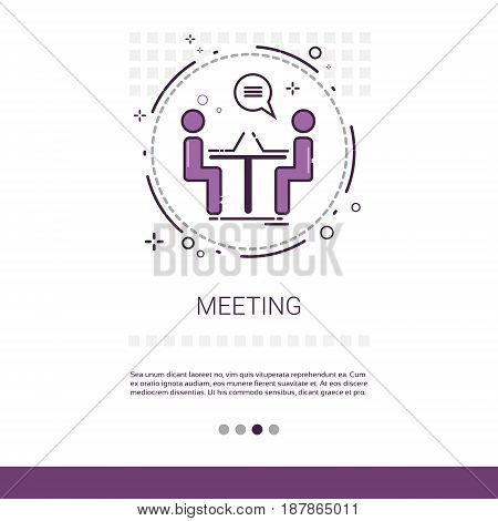 Business Team Meeting Brainstorm Process Web Banner With Copy Space Vector Illustration