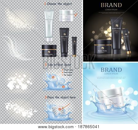 Black and white pearl cream advertising posters and isolated bottles on transparent background. Skin care lotion for beauty procedures vector illustration. Women cosmetic means promotion banner.