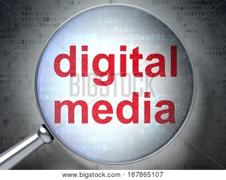 Advertising concept: magnifying optical glass with words Digital Media on digital background, 3D rendering