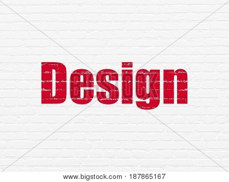 Advertising concept: Painted red text Design on White Brick wall background