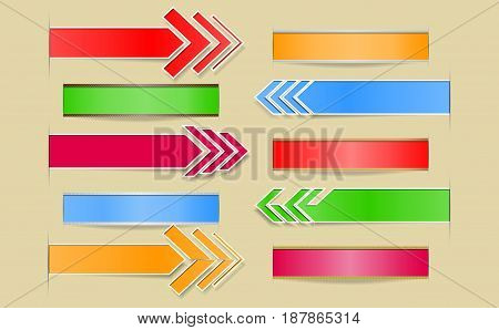 Set of vector arrows and banners with paper cuts and shadow.