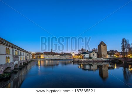 Strasbourg, medieval bridge Ponts Couverts is located in the historic district