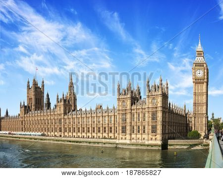 The Palace of Westminster with Big Ben (Elizabeth Tower) at  sunny  morning, London, England, UK.
