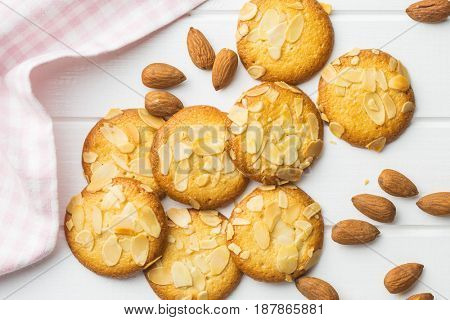 Sweet almond cookies. Top view.