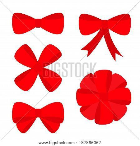 Big red ribbon Christmas bow icon set. Decoration element for giftbox present. Flat design. White background. Isolated. Vector illustration