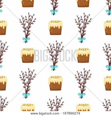 Seamless pattern in easter concept with branches of flowering willow gathered in beautiful bouquet and sweet cake with white topping isolated on white. Vector illustration of Easter plant and food