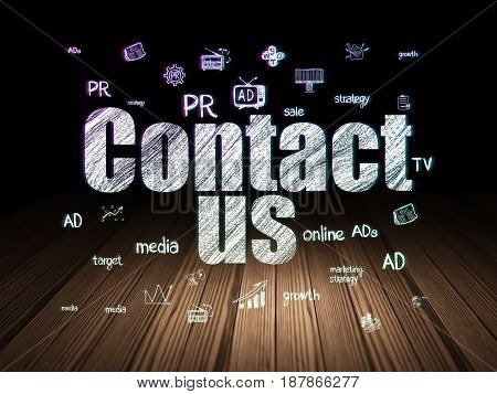 Advertising concept: Glowing text Contact Us,  Hand Drawn Marketing Icons in grunge dark room with Wooden Floor, black background