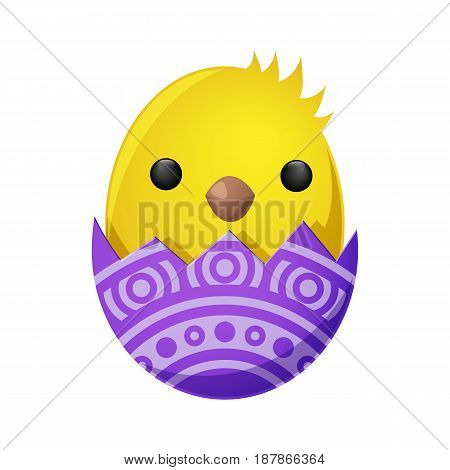 Fluffy spring yellow newborn chick hatched from shell with ornamental decor isolated on white. Mascots of Easter celebration, chicken as symbols of new life vector illustration. Friendly feast animals
