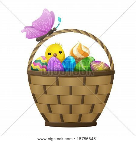Wicker basket with Easter eggs and cake, spring chiken and purple butterfly on handle isolated on white background. Easter symbols vector illustration. Colorful composition of holiday attributes.