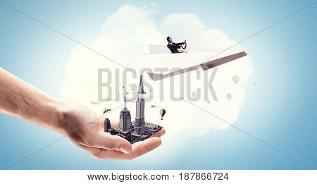 Woman Aviator floating in sky