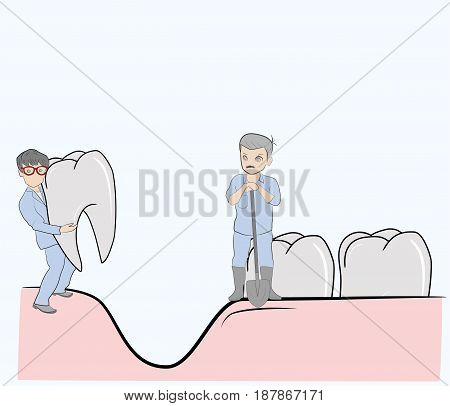 Sketch of little men (doctors) who are treating their teeth. Hand drawn cartoon vector illustration for design and infographics.