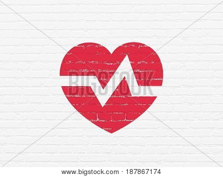 Health concept: Painted red Heart icon on White Brick wall background