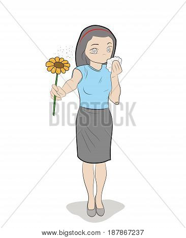 The girl is holding the flower closing from allergies. Hand drawn cartoon vector illustration for medical design and infographics.