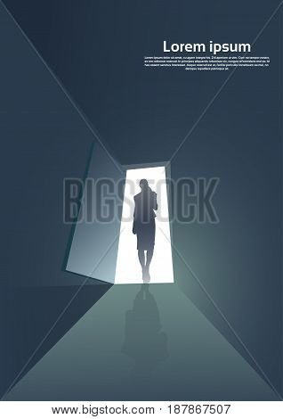 Business Woman Silhouette Standing at Door Entrance New Opportunity Concept Vector Illustration
