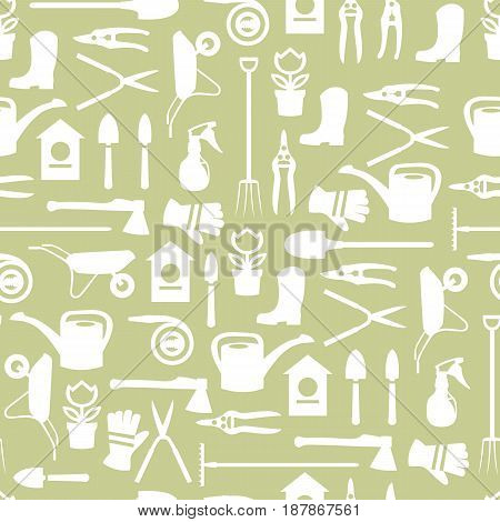 Gardening seamless color pattern design with cute flat icons vector