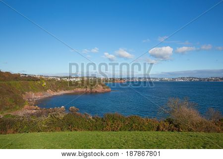 View of Devon sea and coast towards Torquay England UK from Salturn Cove