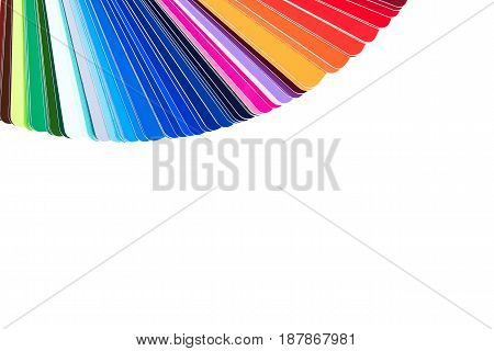Color palette color catalog guide of paint samples isolated on white background