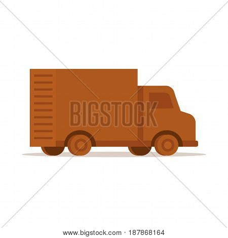 Delivery car in flat design style isolated on white background.