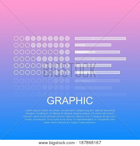 Graphic round and long diagrams with text under white inscription. Elements for business presentations on electronic devices. Vector illustration of biz scheme showing results in flat style.
