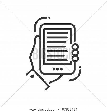 Mobile device - modern vector single line icon. An image of a hand holding a tablet or smartphone. Representation of distance education, technology, understanding, reading, editing.