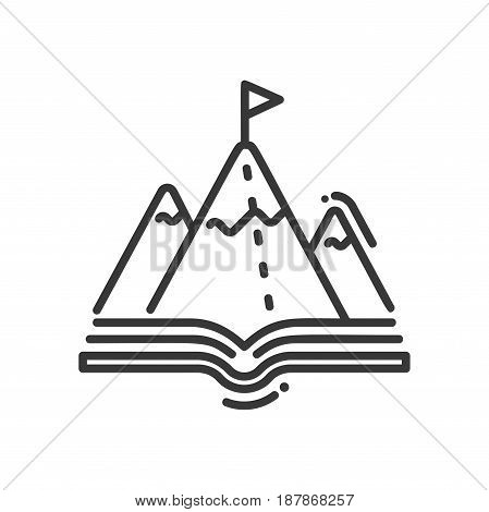 Mountain education - modern vector single line icon. An image of a mountain standing on an open book with an achievement flag. Representation of knowledge, learning, understanding, reading.