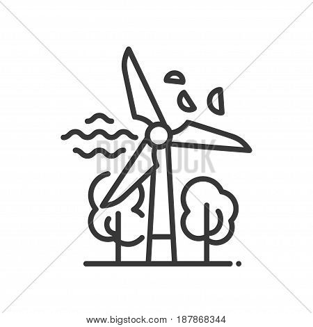 Windmill - modern vector single line icon. An image of a mill, wind, tree, leaves. Representation of ecology, nature, future, green technology and prosperity.