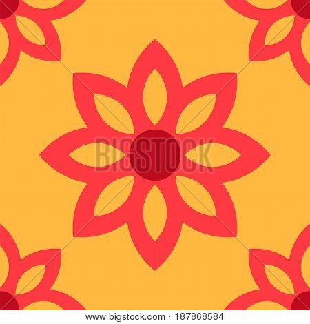 Simple flower pattern background. Red flowers on orange background.
