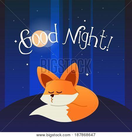 Fox - modern vector phrase flat illustration. Cartoon animal character. Gift image of fox sleeping wishing good night.