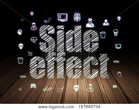 Medicine concept: Glowing text Side Effect,  Hand Drawn Medicine Icons in grunge dark room with Wooden Floor, black background