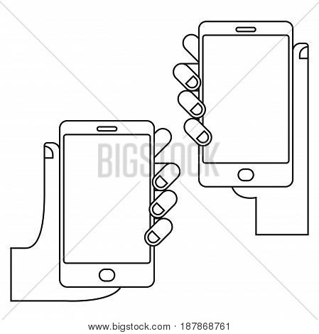 Hands with phone set vector illustration in outline style. Black and white illustration