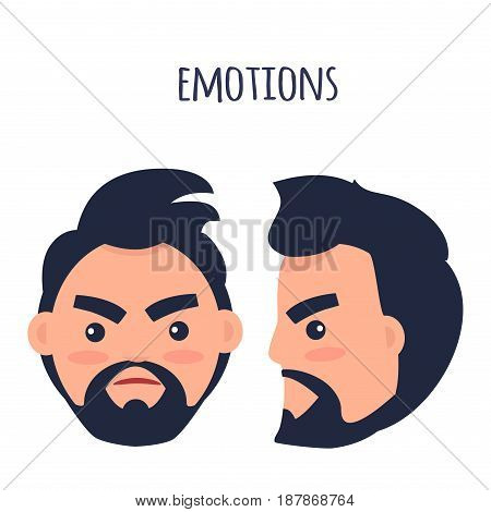 Cartoon brunette male character with beard and twisted mouth frowns his eyebrows from front view and in profile isolated on white background. Human emotion of anger and annoyance vector illustration