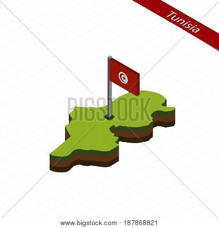 Tunisia Isometric Map And Flag. Vector Illustration.