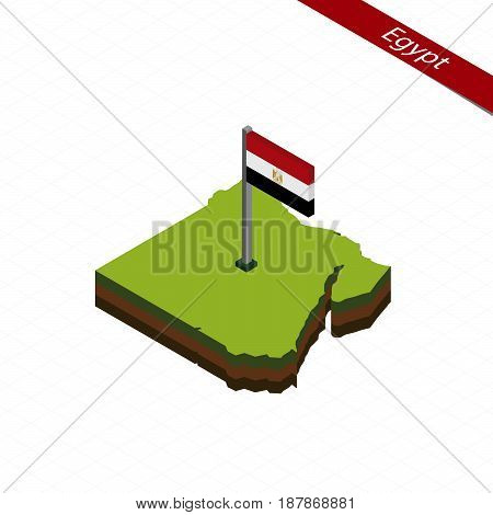 Egypt Isometric Map And Flag. Vector Illustration.