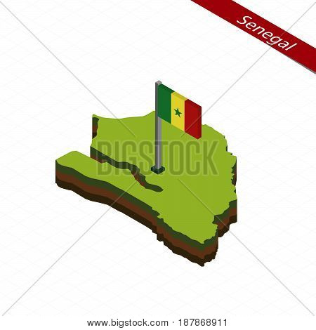 Senegal Isometric Map And Flag. Vector Illustration.