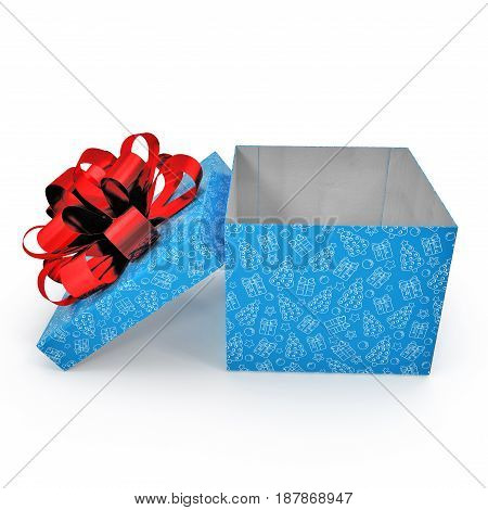 Empty blue gift box on white background. Side view. 3D illustration