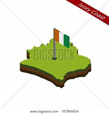 Ivory Coast Isometric Map And Flag. Vector Illustration.