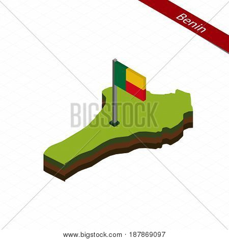 Benin Isometric Map And Flag. Vector Illustration.