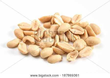 Arranged peeled peanuts close-up view roasted salted peanuts isolated on white background