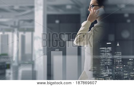 Businesswoman having talk