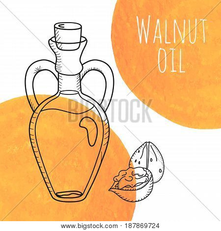 Hand drawn walnut oil bottle with orange watercolor spots. Isolated cute decanter with food oil and walnuts. Sketchy doodle illustration for aroma therapy, cosmetic, organic shop. Glass jug with cork.