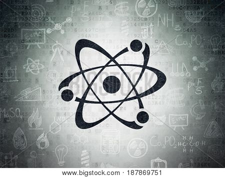 Science concept: Painted black Molecule icon on Digital Data Paper background with  Hand Drawn Science Icons