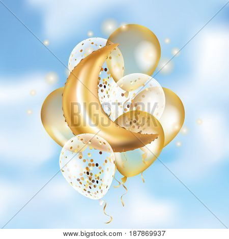 Gold Crescent Moon balloon Ramadan on sky. Moon balloon background. Party balloons event design decoration. Balloons isolate air. Party decoration wedding, birthday, baby shower, celebration, Ramadan