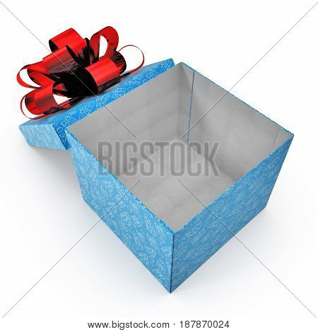 Present box with red overwhelming bow on white background. 3D illustration