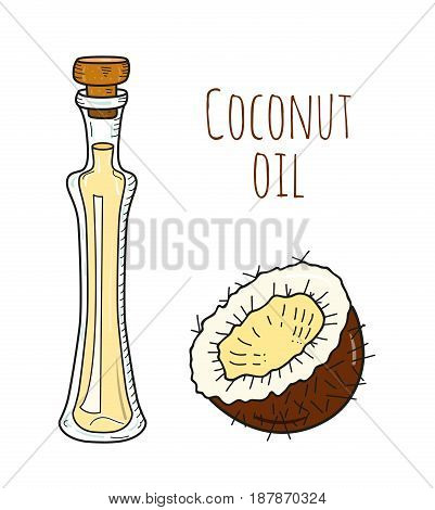 Colorful hand drawn coconut oil bottle. Isolated cute bottle with healthy cooking oil and coconut. Sketchy cartoon illustration for aroma therapy, cosmetic, restaurant, organic shop. Glass jug.