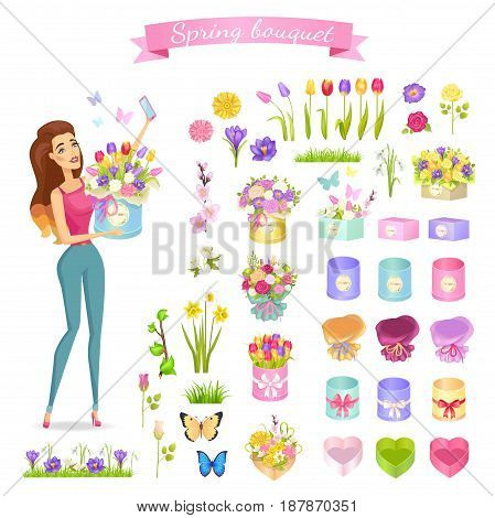 Beautiful woman makes selfie with spring bouquet. Vector illustration of purple primroses, colored tulips and roses, gentle snowdrops, yellow daffodils, two butterflies, packing paper for bouquets.
