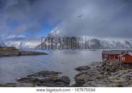 Traditional Norwegian Village Hamnoy at Lofoten Island in Norway.Horizontal Image composition
