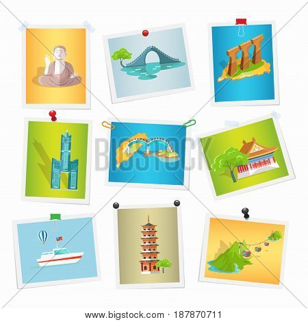 Taiwan sightseeings pictures collection on white. Vector colorful illustration in flat design of images with asian world famous landmarks attached by drawing pins, paper clips and scotch tape