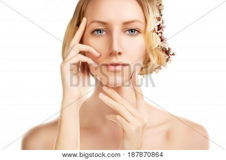 stylish blond beauty girl with deep retouch spring concept